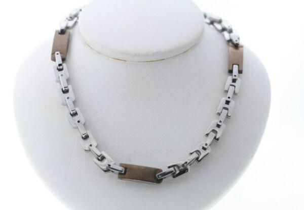 100% QualitäT Weiß & Chocolate Verkupfert Zwei Ton Edelstahl 7mm Halskette