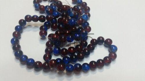 Cuentas de vidrio azul Crackle rojo 8 mm 100 unidades joyas bricolaje perlas h4002