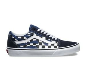 Vans Old Skool Checker Flame Board Navy Blue White Mens and Kids Sz ... 766789db5725
