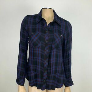 Cabi-Button-Up-Check-Shirt-Size-Small-Red-Blue-Checkered-Long-Sleeve-Peplum-Hem