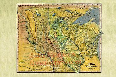 045 Glacier National Park Montana vintage historic antique map poster print
