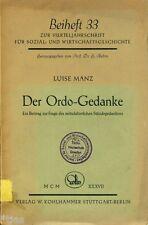 Manz Der Ordo Gedanke Mittelalter Ständegedanke Stände Metaphysik Barock