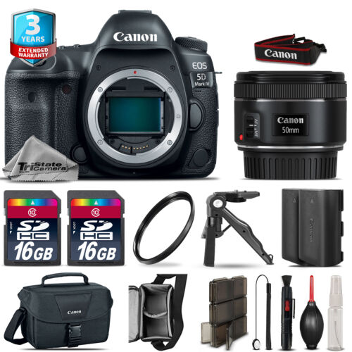 Canon EOS 5D Mark IV DSLR Camera + 50mm + Extra Battery + 32GB + 2yr Warranty