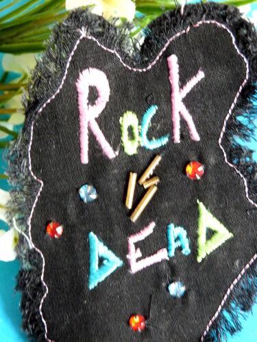 "011# SUPERBE APPLICATION /"" ROCK AND ROLL /"" BRODERIE PERLES JEAN NOIR ÉP VINTAGE"