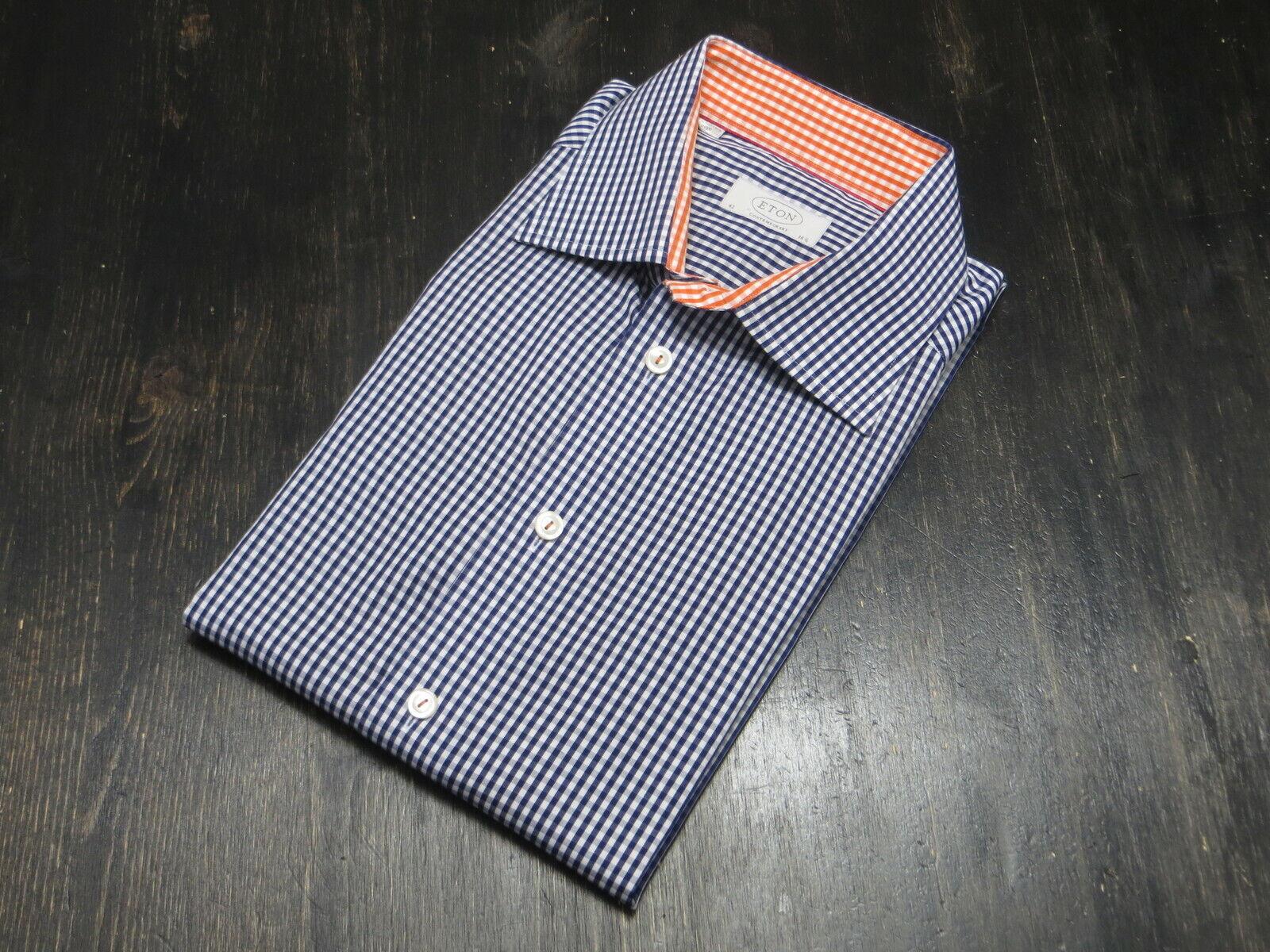 ETON of Sweden baumwolle Blau Weiß Orange Contemporary Fit plaid dress hemd 16.5