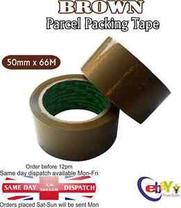 ONE ROLL BUFF BROWN PARCEL PACKING TAPE PACKAGING CARTON SEALING 50MM X 66M