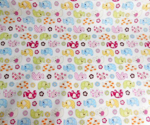 Nursery Fabric Elephants blue Pink and white background jungle theme