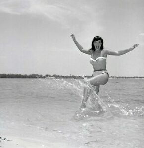 Bettie-Page-1954-Camera-Negative-Bunny-Yeager-Spirited-Pose-Seaside-In-Surf-Orig