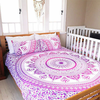 Bohemian Hippie Bed Sheet Tapestry Queen Size Bedding Set Indian Mandala Throw Ebay