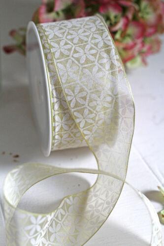 1m schönes zart grün Chiffonband Chiffon Draht Schleifenband 4cm im Zuschnitt