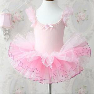 LC-Filles-Enfants-Tutu-ballerine-noeud-rose-Scene-WEAR-vetements-robe-danse-EA