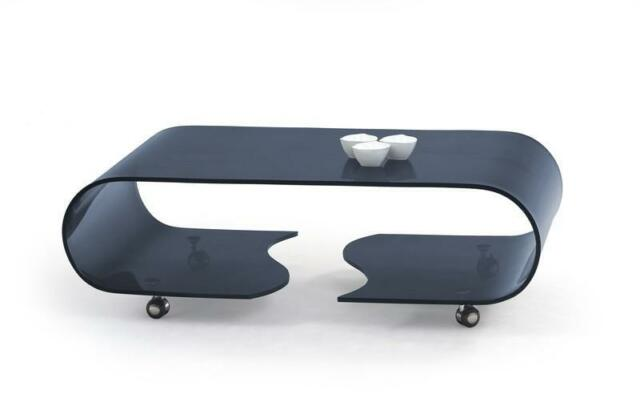 """Penelope"" Curved Graphite Glass Designer Coffee Table with Wheels"