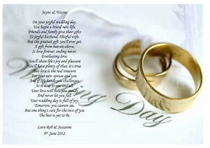 Image Is Loading Personalised Wedding Poem A Gift For The Bride