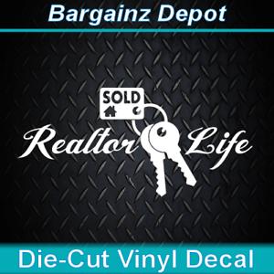 Vinyl Decal .. REALTOR LIFE  .. Real Estate Sales Agent Sold Car Laptop Sticker