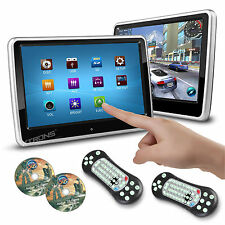 """2X Slim 10"""" Touch Screen Car Pillow Clip On Headrest Monitor CD DVD Player Games"""