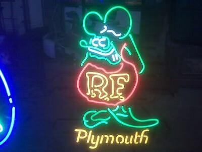 Rat Fink RF Ratrod Hot Rod Garage Man Cave Beer Bar Real Neon Sign Wall Light