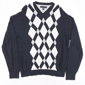 Tommy Hilfiger blau V-Ausschnitt leichtes Casual Pulli Pullover Größe Herren XL