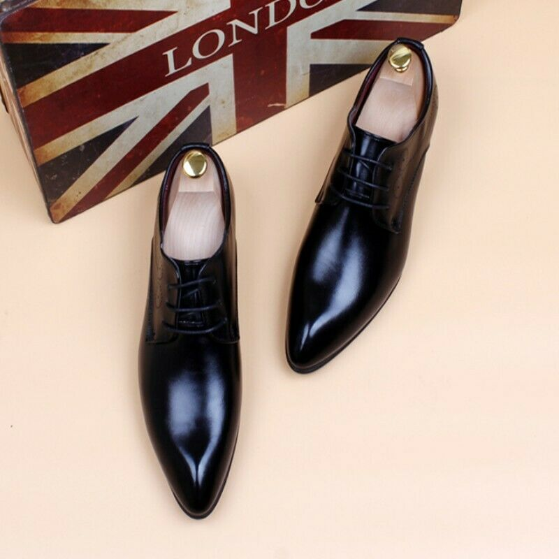 Mens Patent Leather Pointed Toe Lace Up Business Formal Wedding shoes Ske15