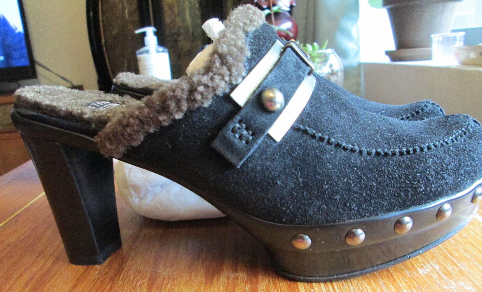 Stuart Weitzman en Daim Noir Mules Chaussures Taille 6 Fabriqué en Espagne