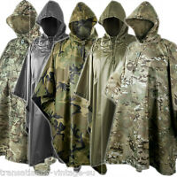 Helikon Hooded Waterproof Poncho Ripstop Festival Camping Hiking Army Mtp Camo