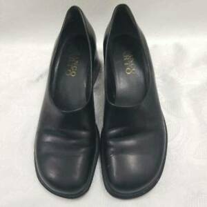 Franco-Sarto-Womens-Loafers-Block-Heels-Shoes-Black-Slip-On-High-Heel-8-5-M