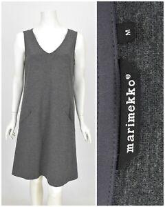 Womens-Marimekko-Viscose-amp-Wool-A-Line-Dress-Tunic-Grey-Basic-Pocket-Size-M