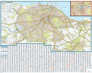 AZ Edinburgh Premier Street Map Wall Map Paper eBay