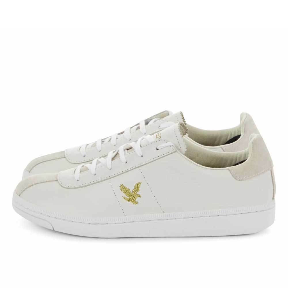 Lyle & Scott Vintage Cooper Nappa Leather Trainers Weiß Gold Ship Worldwide