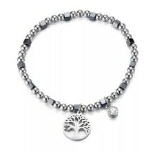 Damen Lebensbaum Edelstahl Armband Silber Perlen Strass Charm lebensblume Baum