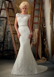 HOT-White-Ivory-Lace-Mermaid-Wedding-Dress-Ball-Gown-Stock-Size-6-8-10-12-14-16