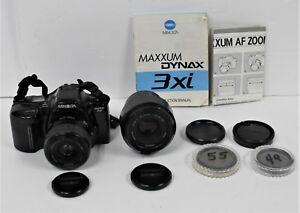 Minolta-Maxxum-3xi-35mm-SLR-Film-Camera-W-Maxxum-AF-35-80mm-49mm-amp-55mm-Lens