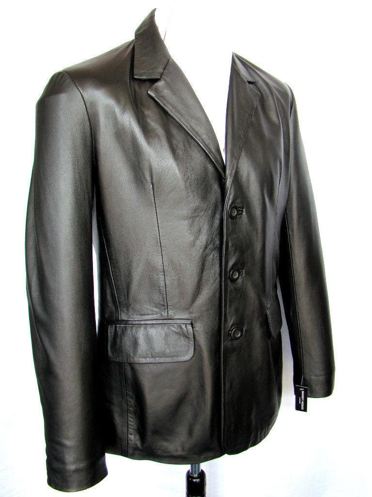 Hombre Americana black 3 Botones Clásico A Medida Chaqueta Cuero Italiano Abrigo