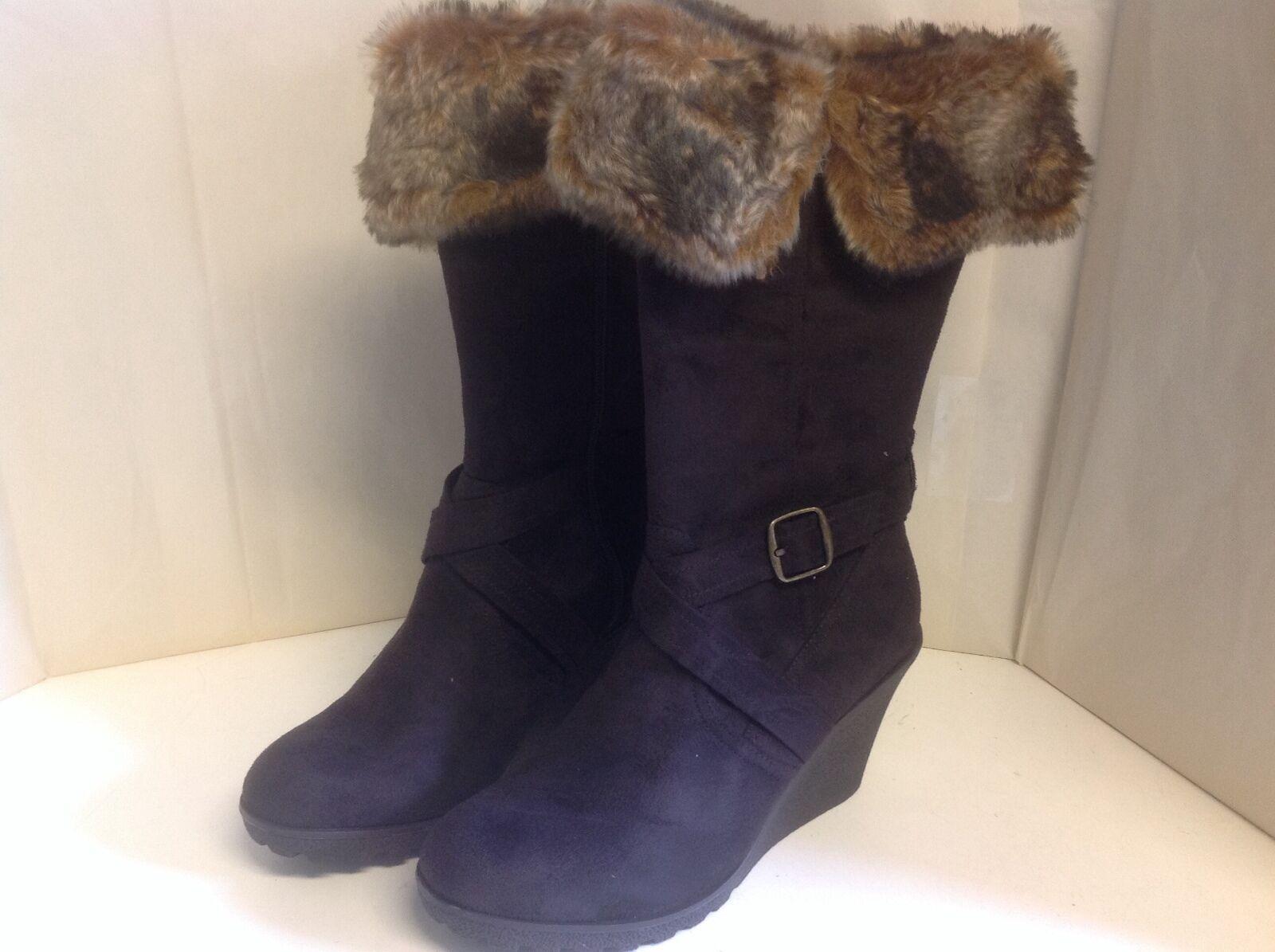 Xoxo Footwear Olvia Wildleder Stiefel Keilabsatz 9 M Reißverschluss Seitlich