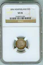 Original 1896 Newfoundland 5 cents NGC VF35
