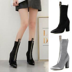 Woemn-Corduroy-Front-Zipper-Ankle-Boots-Block-Heel-Ladies-Pointy-Toe-Party-Shoes
