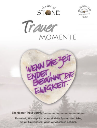 begins Eternity Mourning Marble Stone Heart with Text-when the time ends
