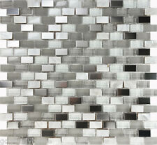 10SF White Glass Mother Of Pearl Stainless Steel Mosaic Tile Kitchen Backsplash