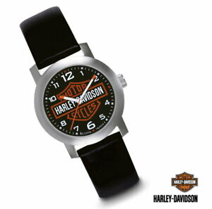 HARLEY-DAVIDSON-MEN-S-BAR-AND-SHIELD-WATCH-LEATHER-STRAP-STAINLESS-STEEL-BULOVA