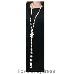 FLAPPER BEADS 180CM PEARL NECKLACE 1920'S GANGSTER FANCY DRESS COSTUME LOT