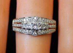 Nice-Estate-14K-White-Gold-95-Ct-Princess-amp-RB-Diamond-Ladies-Ring-s6-75