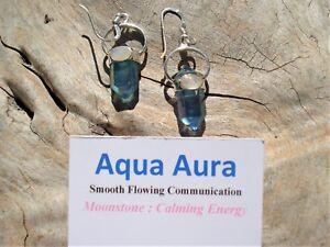 Aqua-Aura-Quartz-DoubleTerminated-6-Sided-Point-Moonstone-Silver-Earrings