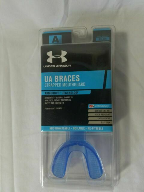 Under Armour UA Braces Mouthguard With Strap Adult Large Light Blue