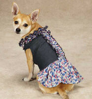 Zack & Zoey Floral Denim Dog Dress Pet Dresses Blue Xxs - M