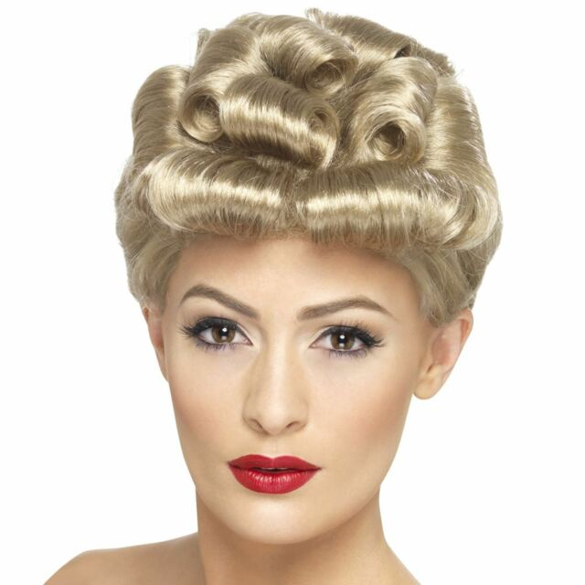 Ladies Realistic Blonde Bombshell 40's Vintage Wig Blonde Curls 50's Rockabilly
