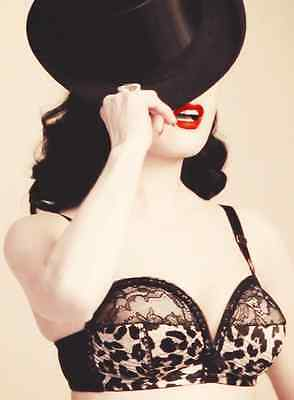 VON FOLLIES BY DITA VON TEESE ANIMAL OVERWIRE BRA 10A 12A 14A 14C LEOPARD PIN UP