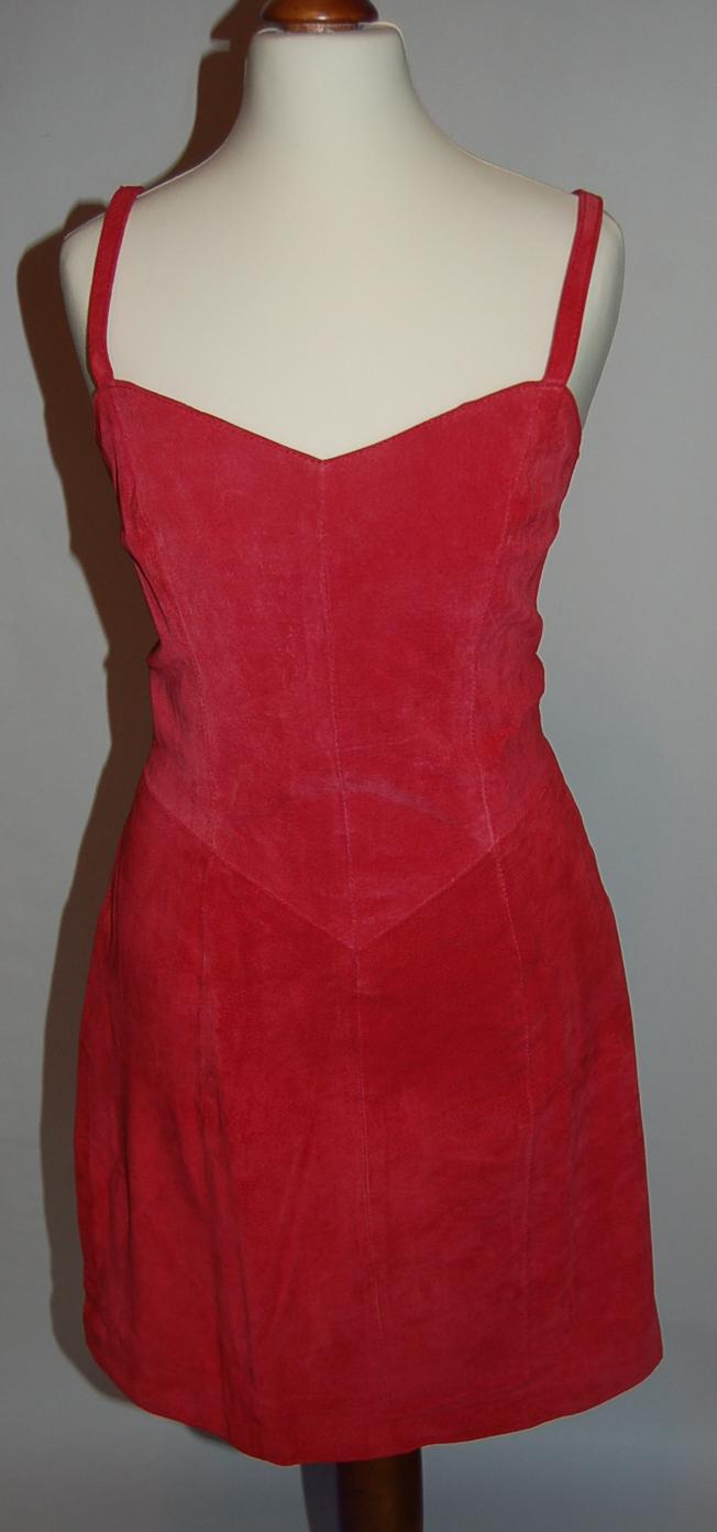 Wildlederkleid, Kleid rot, Designer Mode aus Italien,  Gr. 36 - 38
