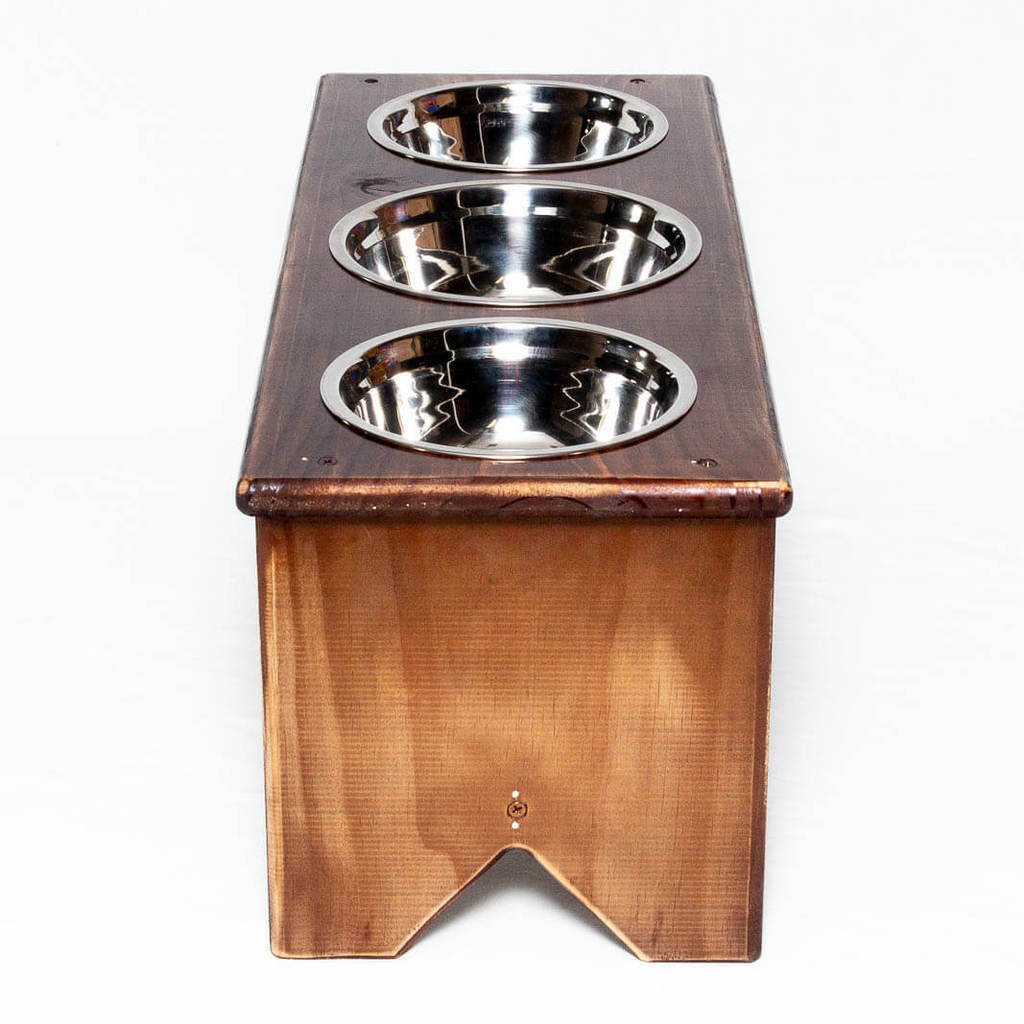 Elevated Dog Bowl Stand - - - Wooden - 3 Bowls - Bigger Middle Bowl - 300mm 12  Tall 5ca31e
