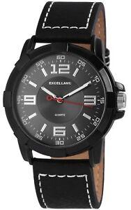 Excellanc-Herrenuhr-Anthrazit-Schwarz-Analog-Kunstleder-Armbanduhr-X-2900023-002