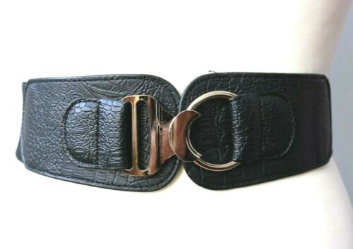Large élastique noir ceinture//en Métal Doré Chunky Boucle élastique//5