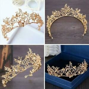 Bridal-Princess-Rhinestone-Pearl-Crystal-Hair-Tiara-Wedding-Crown-Veil-Headband
